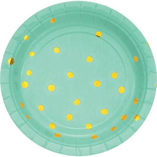 DTC329947PLT: CC Fresh Mint Green/Gold Foil  Dess Plates - 24 Ct